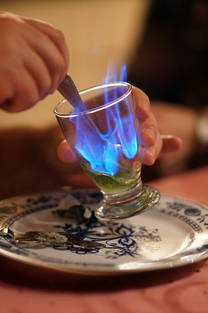 Burning glass with absinthe